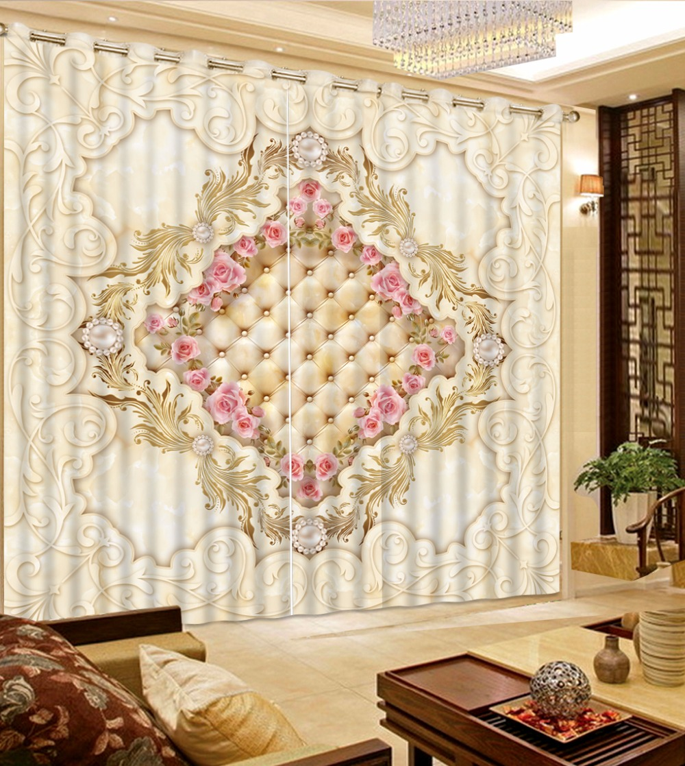 European Style 3D Curtain Pattern Blackout Curtains For