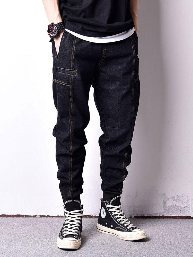 Japanese Style Fashion Men Jeans Vintage Black Color Loose Fit Spliced Cargo Pants Hombre Streetwear Hip Hop Joggers Jeans Men