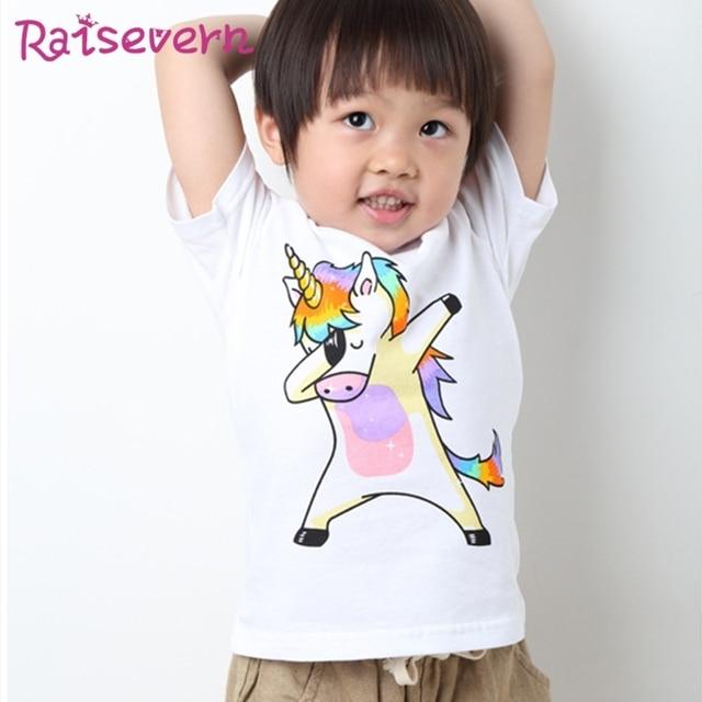 4e670d72d Fashion Unicorn Print Baby Girls T Shirt Pure Cotton Short Sleeve Kids Boy  Rainbow Horse Tees Shirt Infant Funny Cartoon Tops