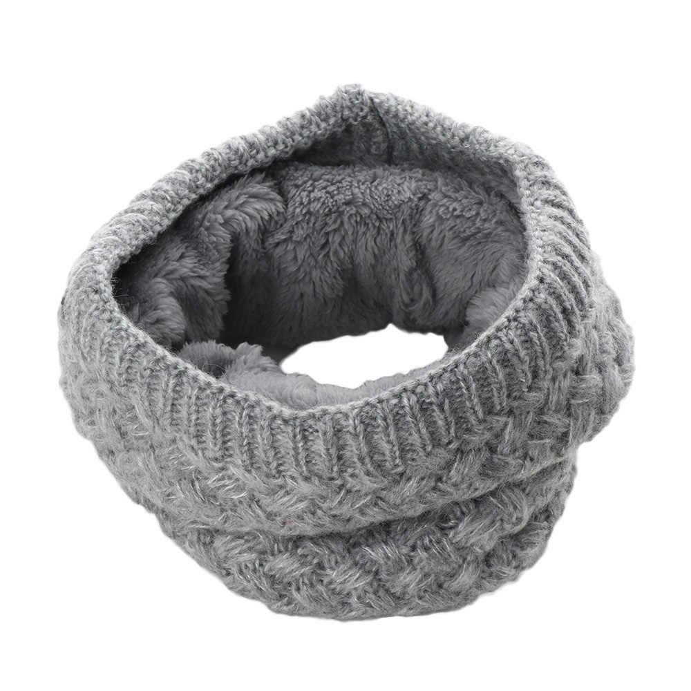 755edb149ba4c 1PC Women Fashion Female Winter Warm Scarf Cowl Collar Circle Scarf Solid  Chunky Cable Knit Wool