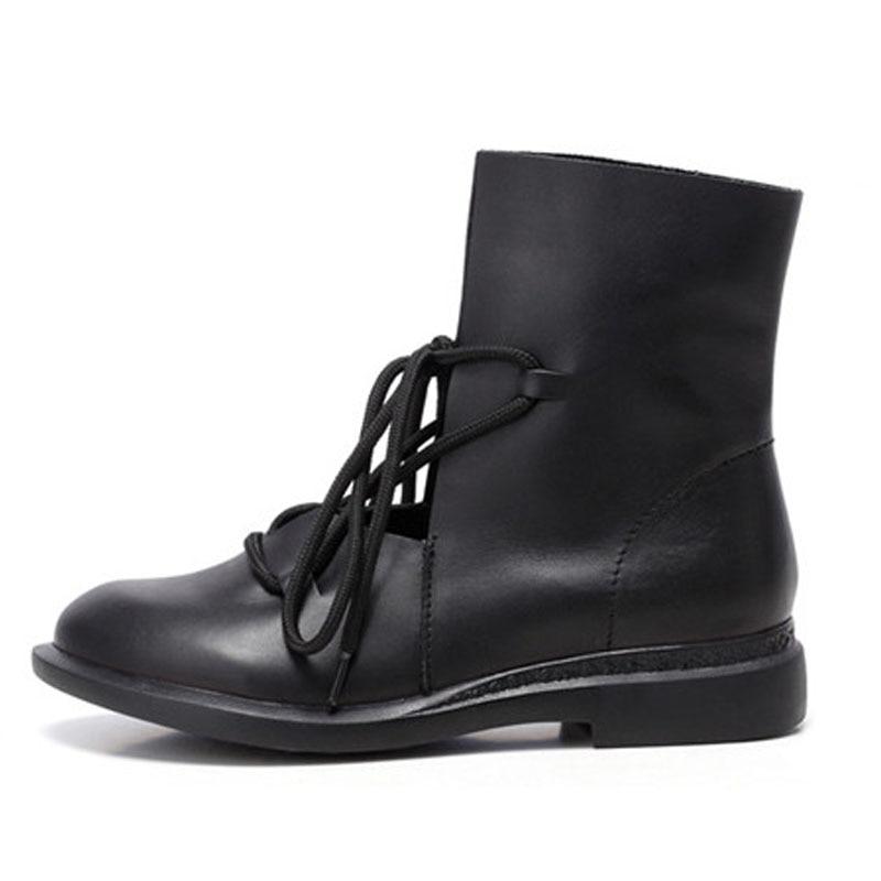 SNURULAN 2017 damskie buty kobiet patentowej skóry mody buty solidna Lace Up ręcznie w stylu Vintage elegancki 7889 w Buty do kostki od Buty na  Grupa 2