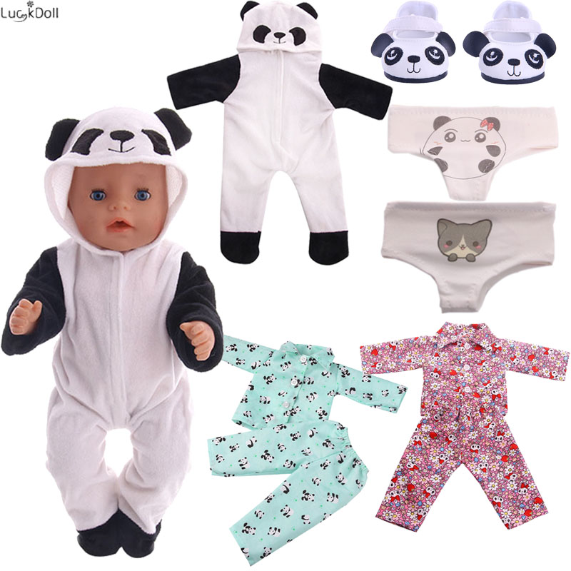 Cute Panda Series Accessories(Pajamas,Shoes,Panties) Fit 18 Inch American&43 CM Born Baby Doll Clothes,Girl's Toys, Generation