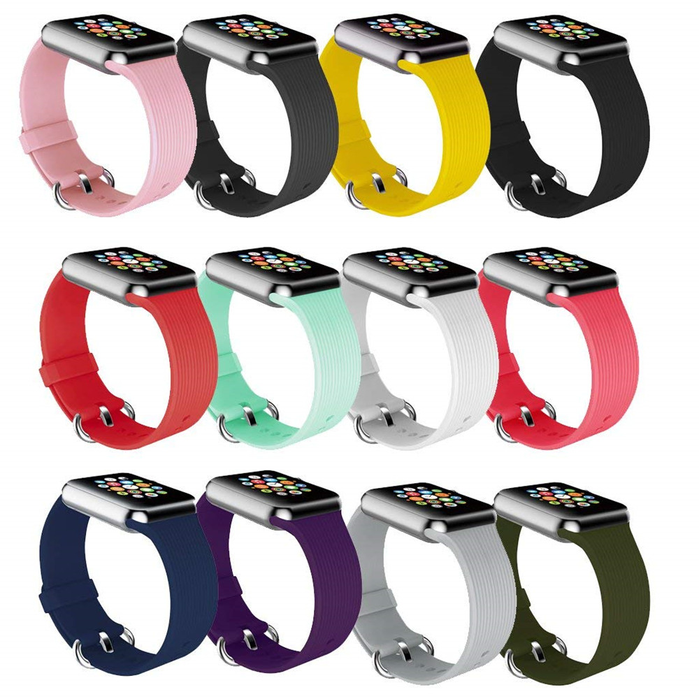 sport silicone strap for apple watch band 38mm 42mm iwatch series 4 3 2 1 soft rubber watchband candy color bracelet replacement soft silicone sport band for apple watch series 1 2 3 38mm 42mm rubber strap replacement watchband for iwatch series 4 wristband