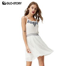 GLO-STORY 2018 Women White Embroidery Dress Woman Summer Spaghetti Strap Blackless Casual Bohe Dresses  1623