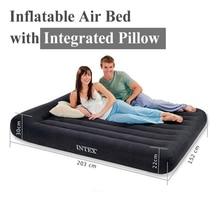 INTEX 66767 66768 66769 66770 pvc gonflable lit d'air matelas pneumatique avec intégré intégré dans la coussin oreiller matelas camping salon pompe