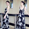 2016 New Summer Beach dress Women Long Chiffon Print Floor-length Woman Dress Vintage Casual Sexy Lady Tunic vestido festa Black