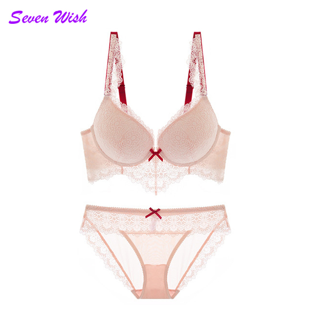 c546af2aa5d6a Summer new lace sexy bow girl underwear small chest gather to adjust the  type of the United States back bra set