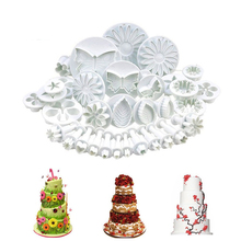Flower 33Pcs/Set Fondant Cookie Cake Cutter Ejector Stamp Plunger Cutters Embossed Mold Moulds DIY Kitchen Baking Tools