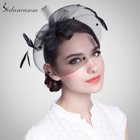 Sedancasesa Feather Floral Black Ivory Fascinator Bridal Hats Clip For Women Party Wedding Evening Church Caps TS0004
