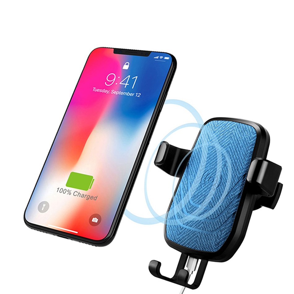 Quick wireless charger Car phone holder Stand For apple iPhone X 8 samsung galaxy s8 Plus Note 9 Mobile Support telefon tutucu