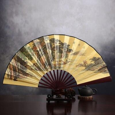 """1"""" украшенный Шелковый складной Ручной Веер человек большой бамбуковый китайский Печатный веер из ткани традиционное ремесло свадебные сувениры веер - Цвет: Boating chart"""
