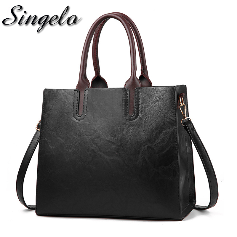 Singelo New Fashion PU Leather Handbags Female Solid Color Tote Hand Bags Ladies Designer Shopping Shoulder Bags For Women 2018