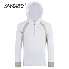 LANBAOSI Men's Fishing Hiking Hoodies Jacket Clothing Outdoor Sports Quick Dry Anti-UV Sunscreen Breathable Angling Clothes