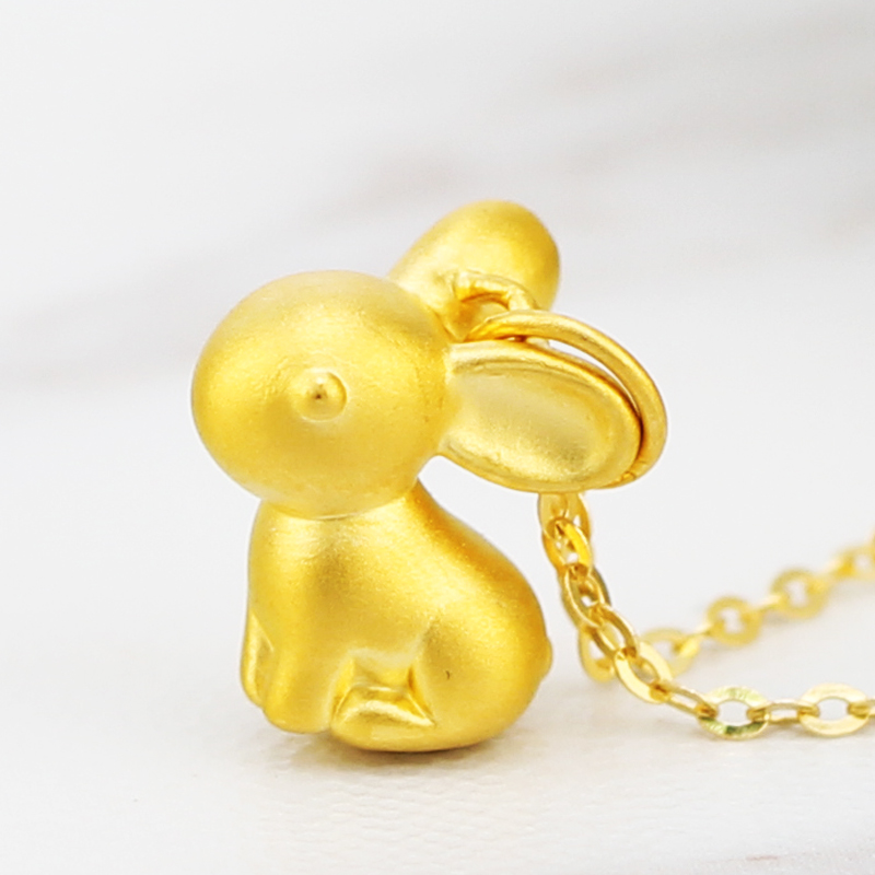 Pure 24K Yellow Gold Pendant 3D 999 Gold Chinese Zodiac Rabbit Pendant a pa lxh0074 zodiac pattern 24k gold mobile phone anti radiation sticker golden
