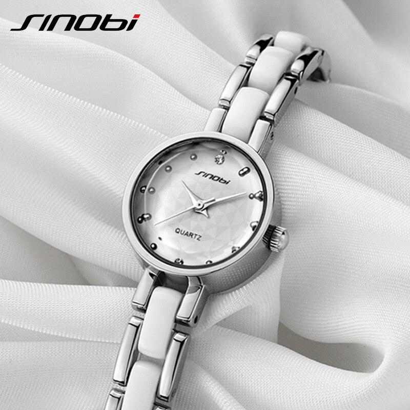 SINOBI Women Bracelet Watches Top Brand Luxury Simulated Ceramics Band Quartz Watch Lady Dress Relogio Feminino 2019 Clock #9486