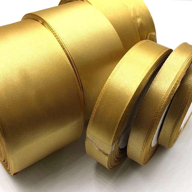 Мм 1 рулон Золотой 25 ярдов 6 мм-50 мм атласная лента кушак подарок лук Ремесло Свадебная вечеринка принадлежности событие юбилей банкет украшения 104