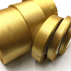1 Roll Gold 25 Yards 6mm - 50mm Satin Ribbon Sash Gift Bow Craft Wedding Party Supplies Event Anniversary Banquet Decoration 104(China)