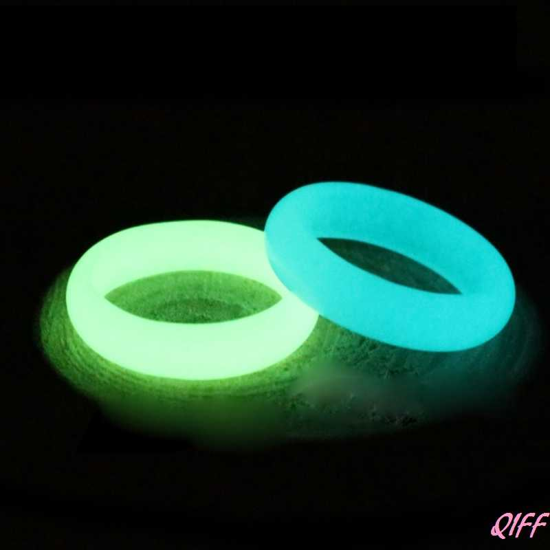 Drop&Wholesale Rarely 8mm Wide Natural Fluorite luminous Stone Glow in Dark Ring Fine Jewelry APR28