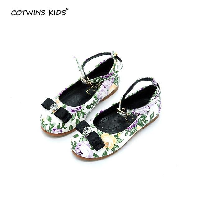 CCTWINS CRIANÇAS primavera outono de gordura para o bebé da criança arco de couro pu marca de moda strass flor branca crianças sapato tornozelo