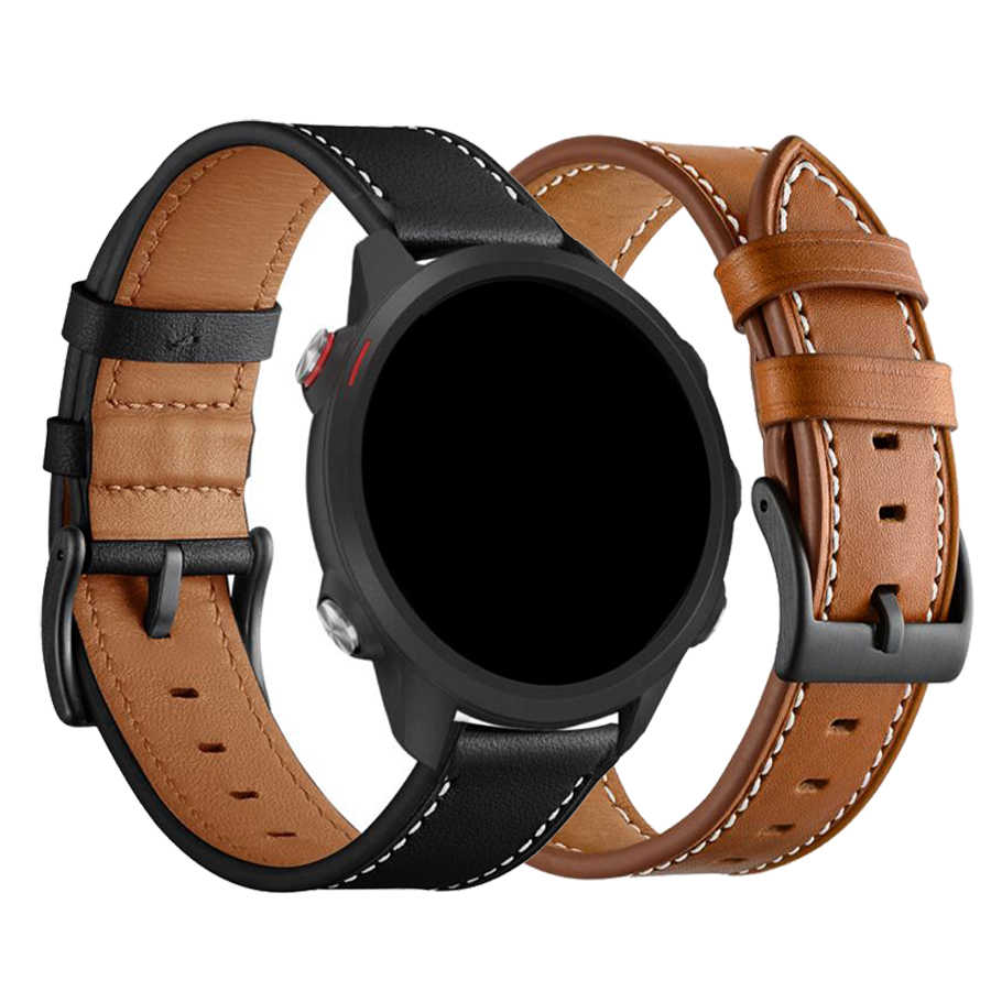 Genuine Leather Watch Band untuk Garmin Forerunner 245/Vivoactive 3/Vivomove HR Smart Watch Strap Forerunner 645 Olahraga gelang