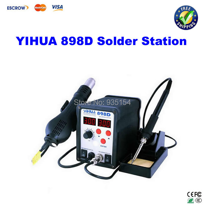 Lead Free SMD soldering station YIHUA 898D LED digital display , Hot air gun + solder iron 2 in 1  atten 2in1 at8502d lead free soldering station smd rework station hot air gun