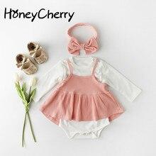 春のベビーボディスーツ幼児スカートボトムドレス蝶ネクタイと女の赤ちゃんのスーツで2020女の赤ちゃん服新生児ボディスーツセット