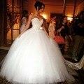 Роскошный Кристалл Бисера Белый Бальное платье Свадебные Платья 2016 Принцесса Плюс Размер Кантри Свадебные Платья Невесты Свадебное Платье