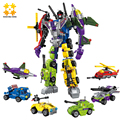 WMX 1404 6 in 1 Super Hero Robot Destroyer Building Blocks Bricks Sets Car Airplane Figures Christmas Gift for Kids
