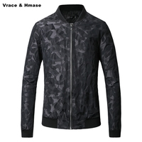 Jacquard camouflage printing big size fashion stand collar baseball jacket New arrival 2017 high-quality winter jacket men M-5XL