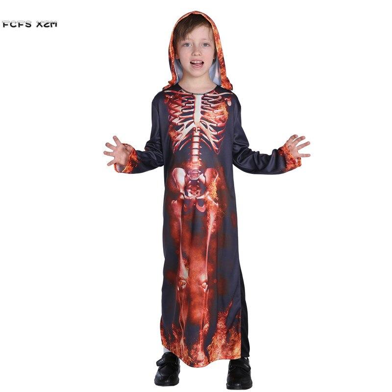 Children Fiend Hell Devil Demon Cosplays Kids Halloween Skeleton Costumes Carnivl Purim Easter stage play Masquerade party dress