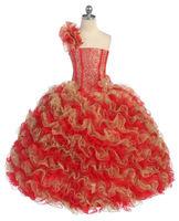 Nieuwe Meisje Glitz Pageant Party Wedding Verstoorde Jurk Bolero Rood/Goud 2 4 6 8 10 12