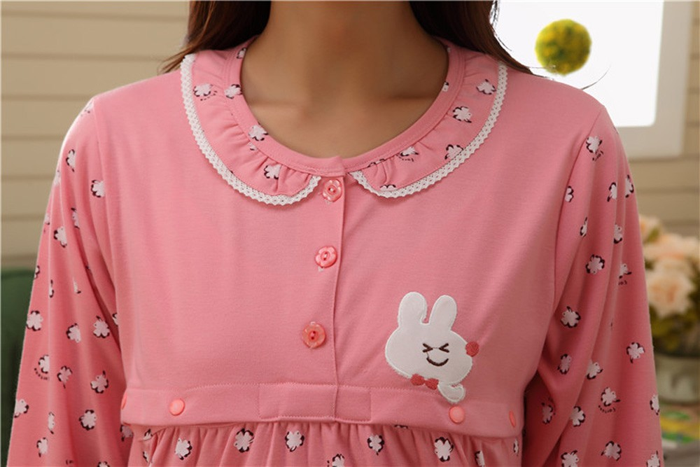Pregnant-Woman-Pajamas-Postpartum-Breastfeeding-Month-Of-Serving-Lapel-Clothes-Long-sleeve-Sleepwear-Suits-CL0800 (15)