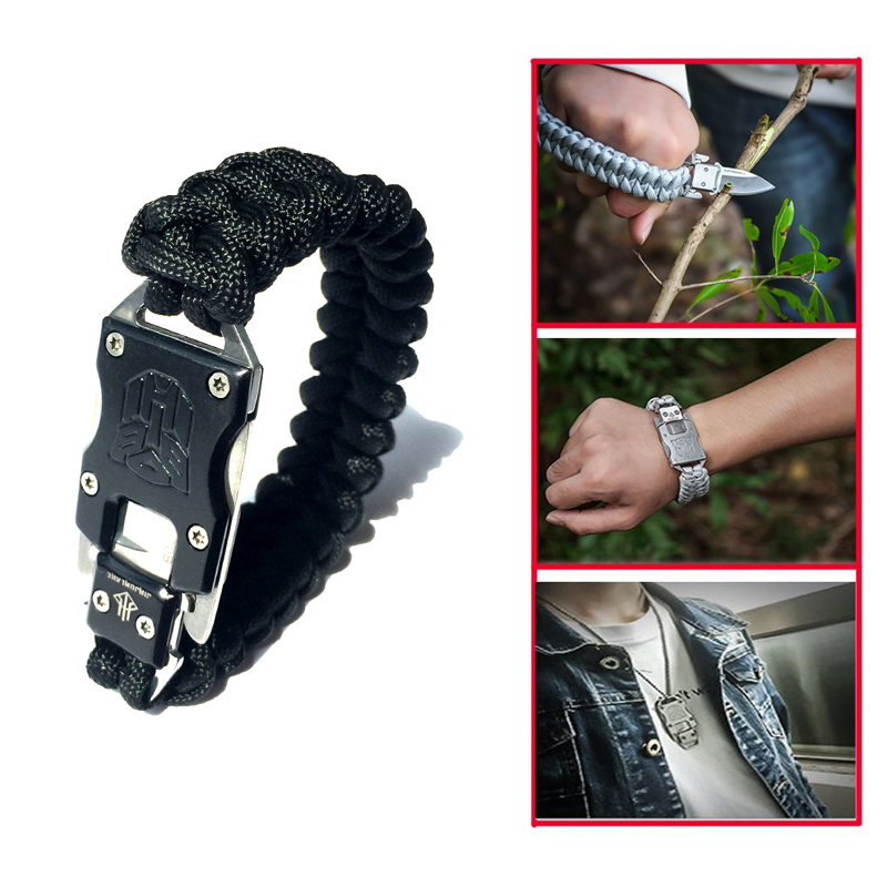 Outdoor Survival Multi Functional EDC Tactical 7 Core Parachute Survival Rope Bracelet With Packet Knife Self Defense self defense transformer multi functional edc knife