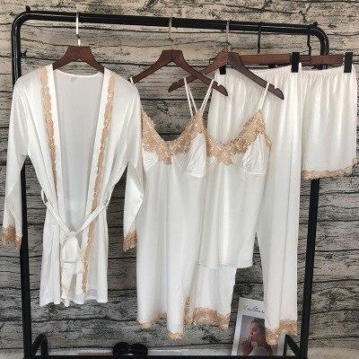 Image 5 - Daeyard Silk Pajamas Sets Women Sexy Lace Robe Pajama Pants Sleepwear Spring Summer 5pcs Pyjamas Nightwear Elegant Home Clothes-in Pajama Sets from Underwear & Sleepwears