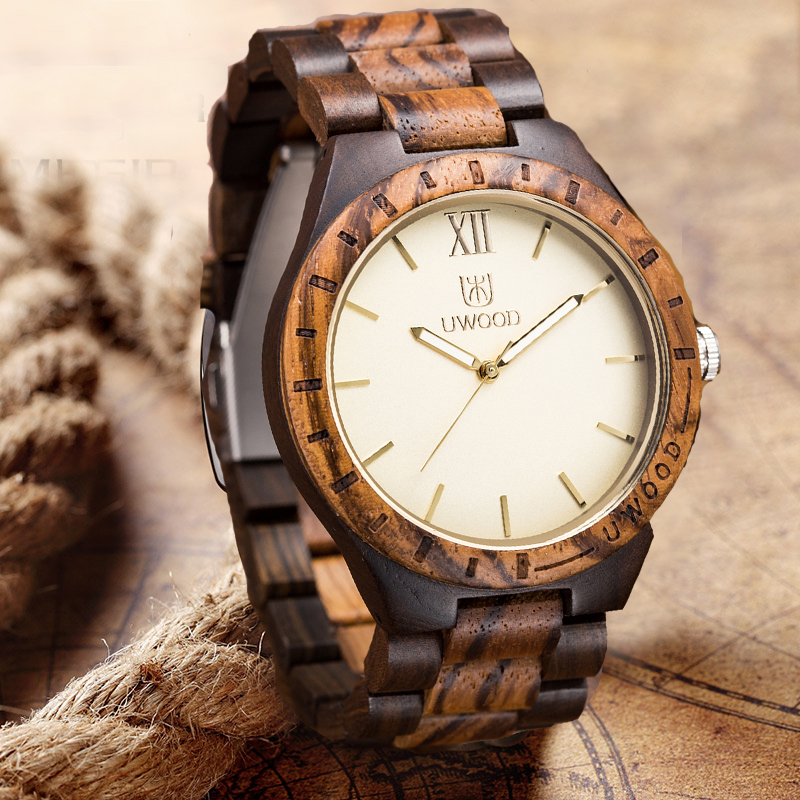 2016 wooden Wrist watch Wood Men Quartz Watch Roman Numeral Scales Casual Wooden Man watches 2016 Brand Luxury relogio masculino bewell men wooden watch black sandal wood roman numerals date wrist watches luxury men s round dial full wood relogio masculino