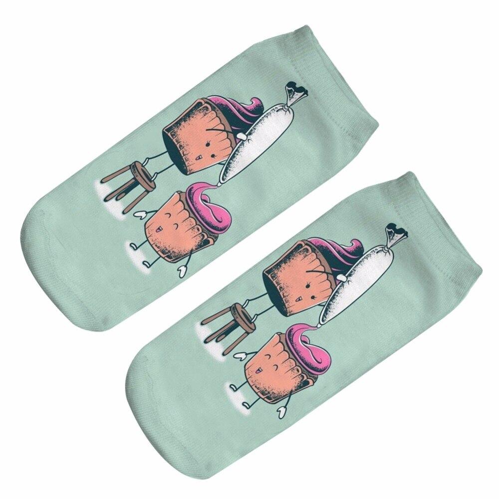 3D Full Print polyester cake sock Men Women Cute Unisex Low Cut Ankle Socks Multiple Colors Cotton Sock Casual Hosiery