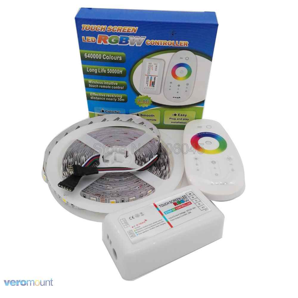 5m 12V 5050 RGBW RGBWW LED bande IP20 IP65 IP67 bande étanche ensemble + 2.4G RGBW télécommande + DC12V 5A adaptateur secteur ensemble