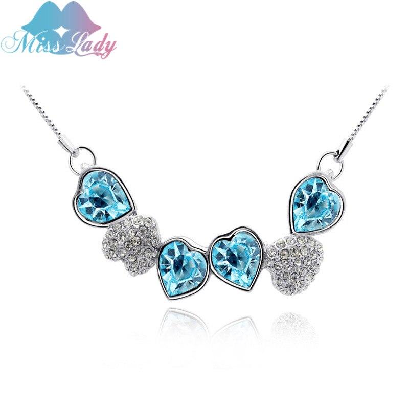 Miss lady nouveau 2017 or rose couleur strass coeur en cristal de cru  colliers et pendentifs bijoux de mode pour les femmes mly5320 7e330a49feb