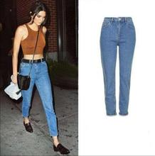 Бесплатная доставка Тонкий карандаш брюки ретро высокой талии джинсы женские брюки свободные брюки ковбой