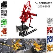 цена на CNC Aluminum Adjustable Rearsets Foot Pegs For Honda CBR1000RR CBR 1000RR 2004 2005 2006 2007