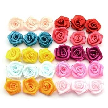 100pcs Satin Ribbon Rose Flower Bow Appliques Wedding Decor Appliques Sewing DIY фото