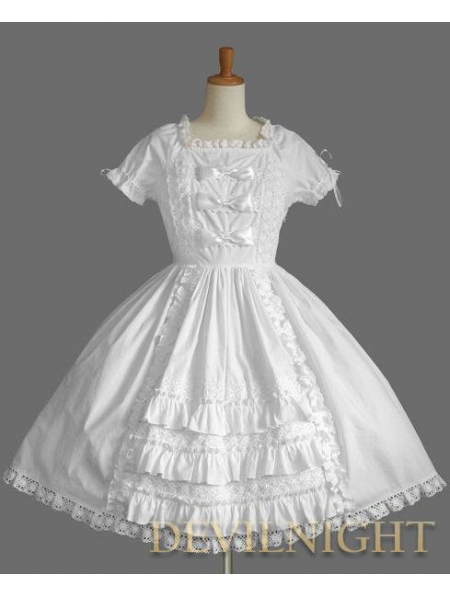 White Short Sleeves Ruffles Bow Sweet Lolita Dress