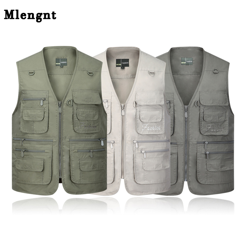 Summer Quick Dry Thin Vest Male With Many Pockets Casual Classic Multi Pocket Military Green Photographer Baggy Work Waistcoat