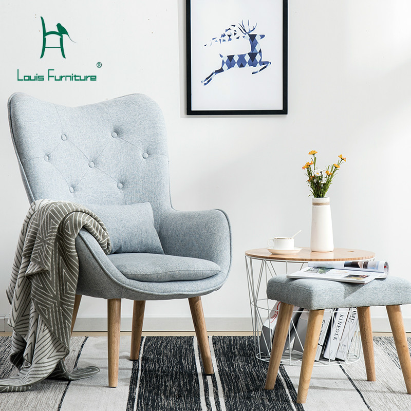 US $157.9 |Louis Fashion Living Room Chairs Nordic Single Sofa Lazy Little  Apartment Simple Modern Balcony Bedroom-in Living Room Chairs from ...