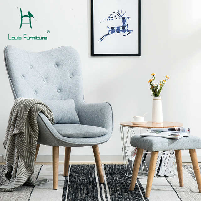 Louis Fashion Living Room Chairs Nordic Single Sofa Lazy Little