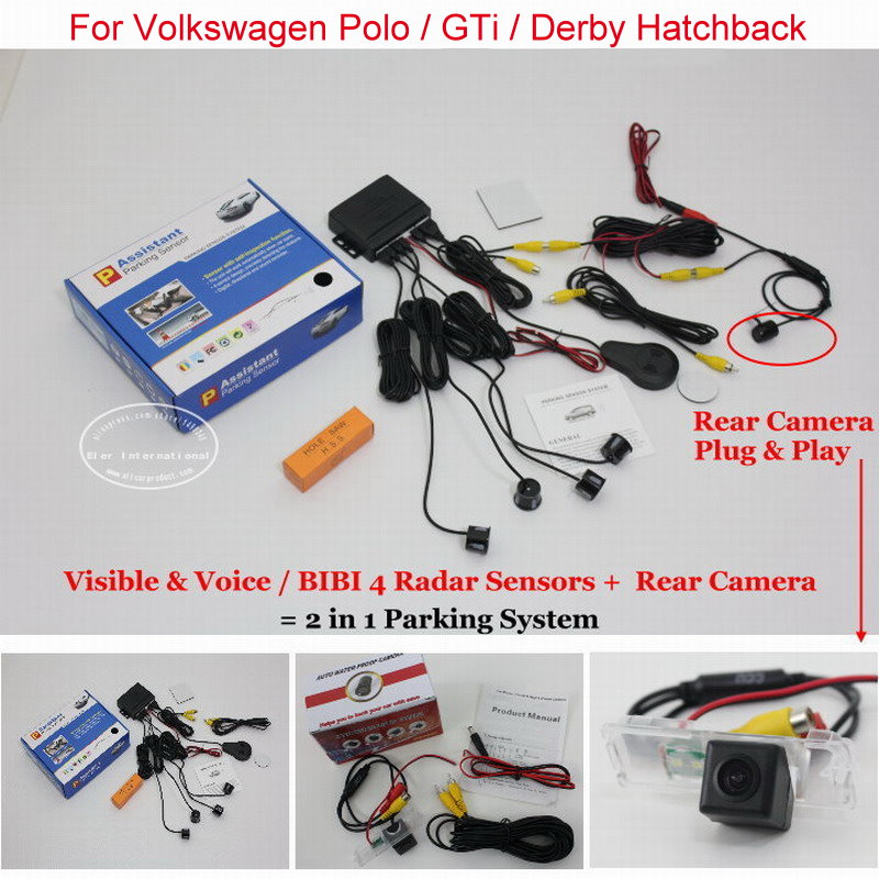 For Volkswagen VW Polo / GTi / Derby - Car Parking Sensors + Rear View Camera = 2 in 1 Visual / BIBI Alarm Parking System volkswagen polo в москве у официального дилера