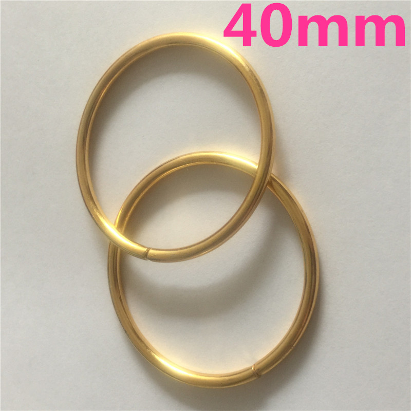 100pcs 40mm Gold Metal Iron O Rings of leather Garment Bags Scarf Accessory Cast High Quality