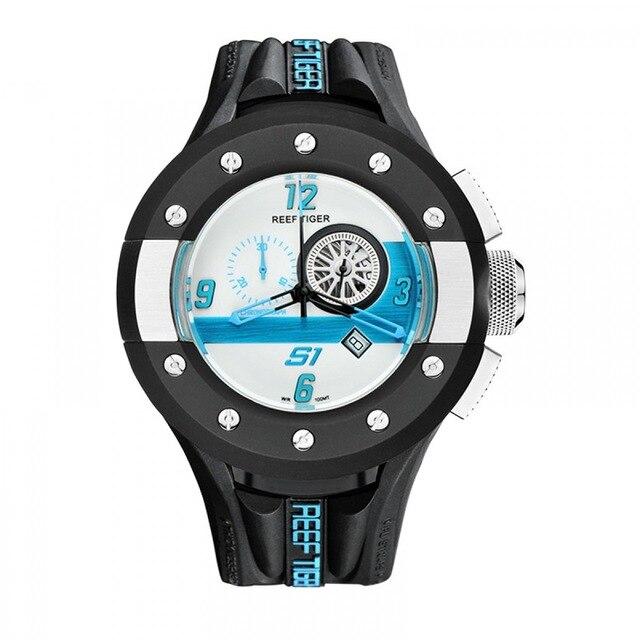 Reef Tiger Aurora Serier RGA3027 Mens Chronograph and Sport Watches Racing Dashboard Dial Quartz Movement Wrist
