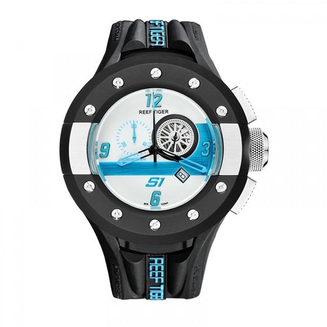 Reef Tiger Aurora Serier RGA3027 Mens Chronograph and Sport Watches Racing Dashboard Dial Quartz Movement Wrist Watch with Date 機械 式 腕時計 スケルトン