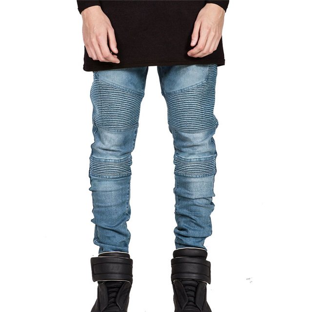 Aliexpress.com : Buy Mens Vintage Motorcycle Jeans Fold Pleated ...